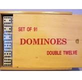 Dominoes - Double twelve, wood case