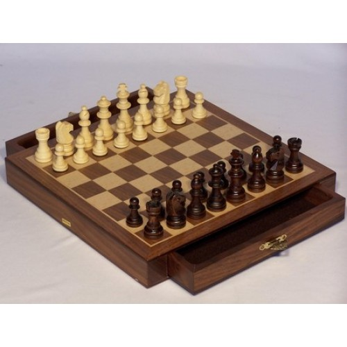Chess set magnetic with drawers walnut 10 puzzles and games specialists - Puzzle boards with drawers ...