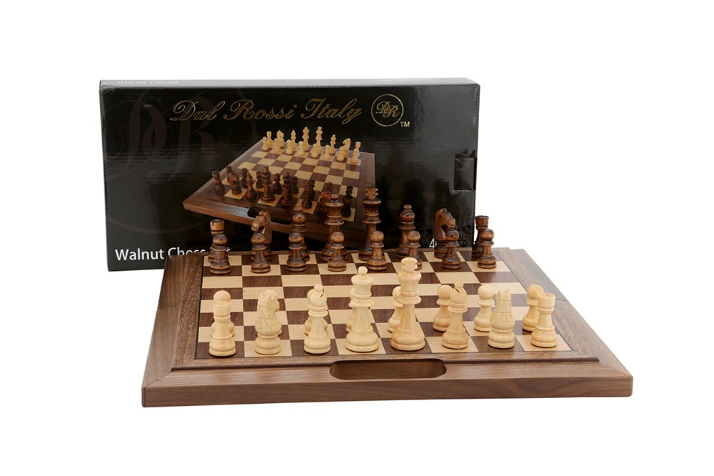 """Dal Rossi Chess Set  walnut folding bevelled edge, with handle, 16"""""""