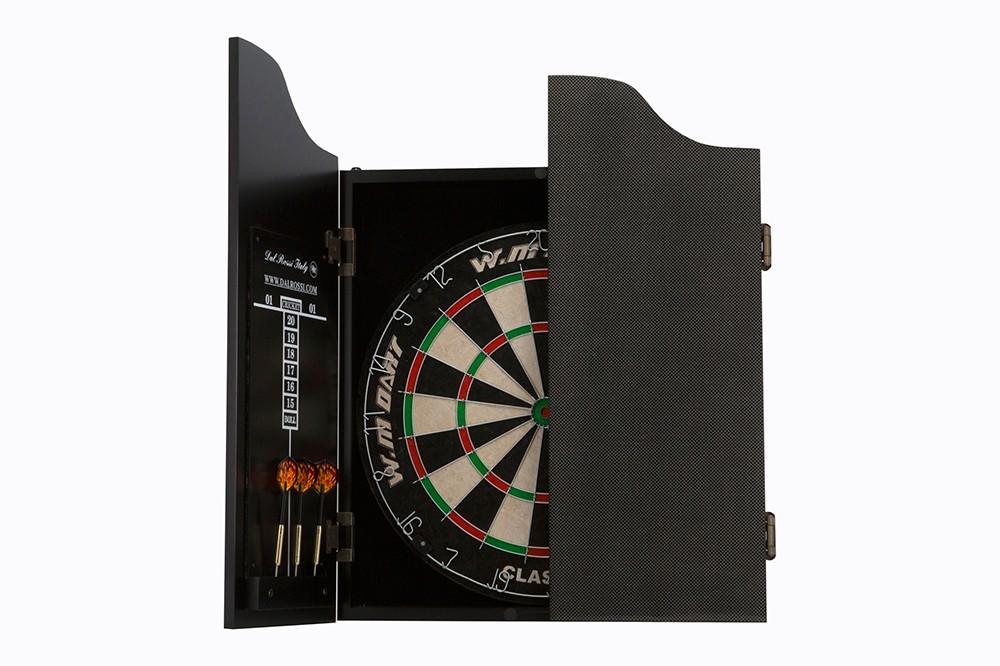 Dal Rossi Carbon Fibre Finish Full Size Dart Set complete with bristle dart board and darts