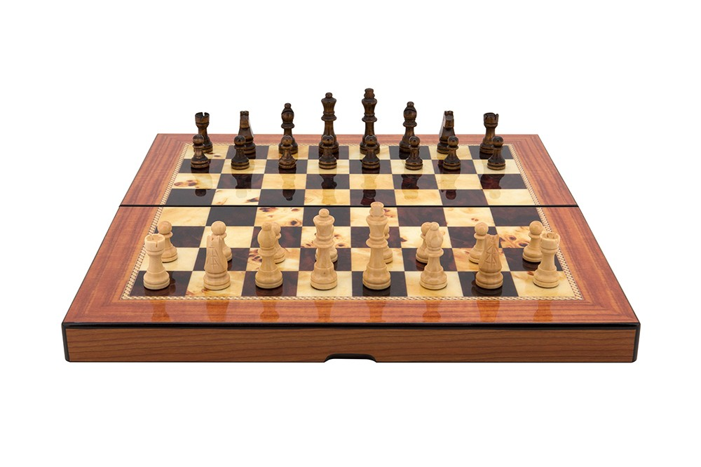 "Dal Rossi Walnut Shiny Finish Folding Chess Set, 16"""