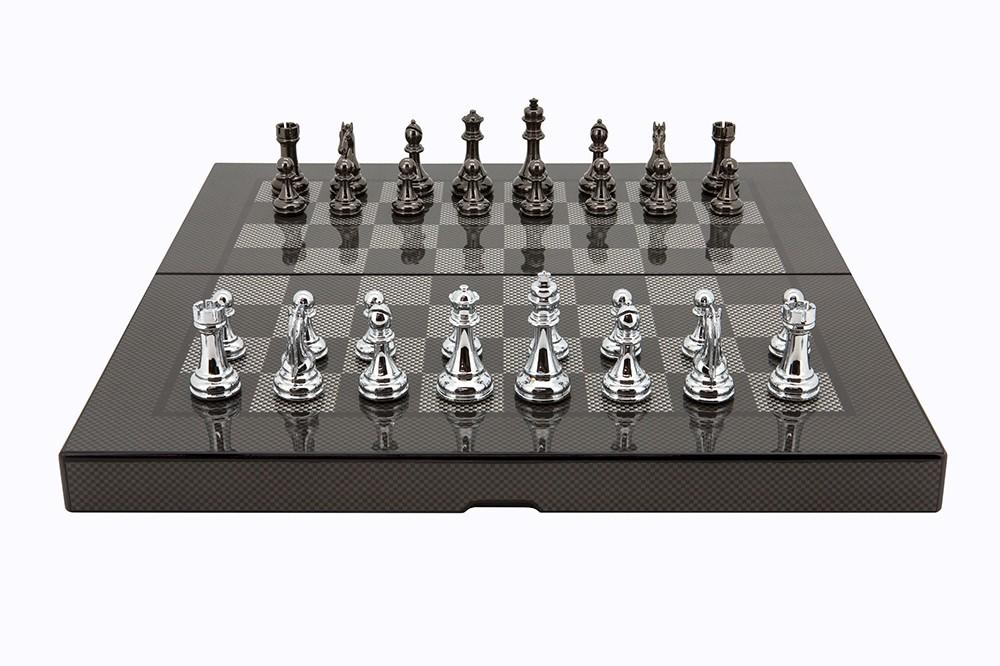 """Dal Rossi Carbon Fibre Finish Folding Chess Set, 16"""""""