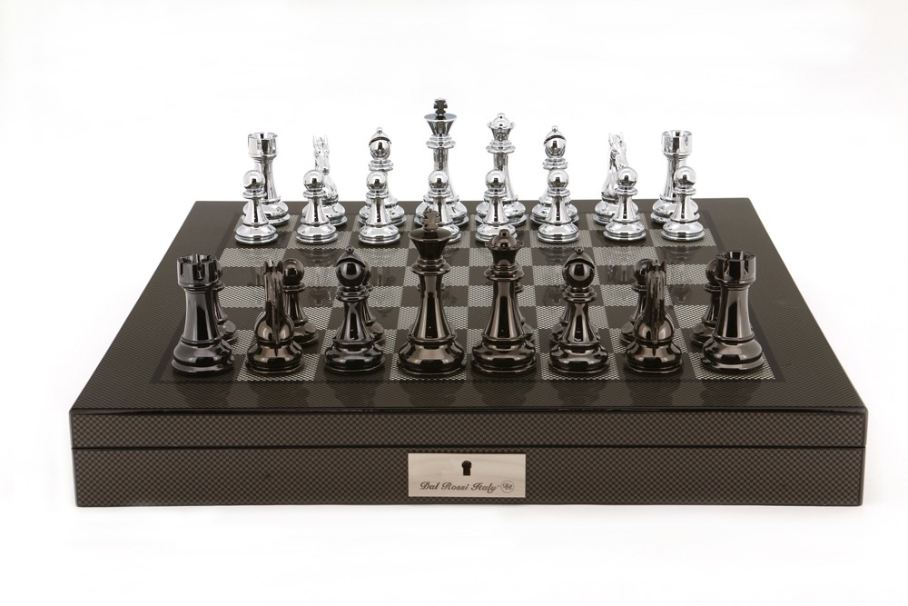 """Dal Rossi Italy Silver/Titanium Chess Set on Carbon Fibre Shiny Finish Chess Box 20"""" with compartments"""