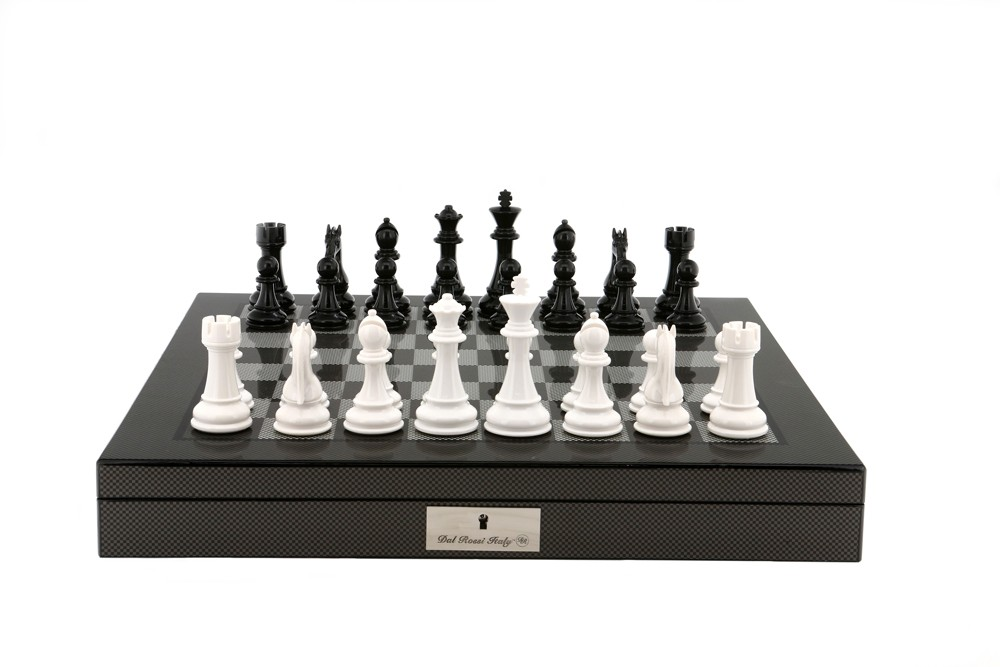 "Dal Rossi Italy Black/White Chess Set on Carbon Fibre Shiny Finish Chess Box 20"" with compartments"