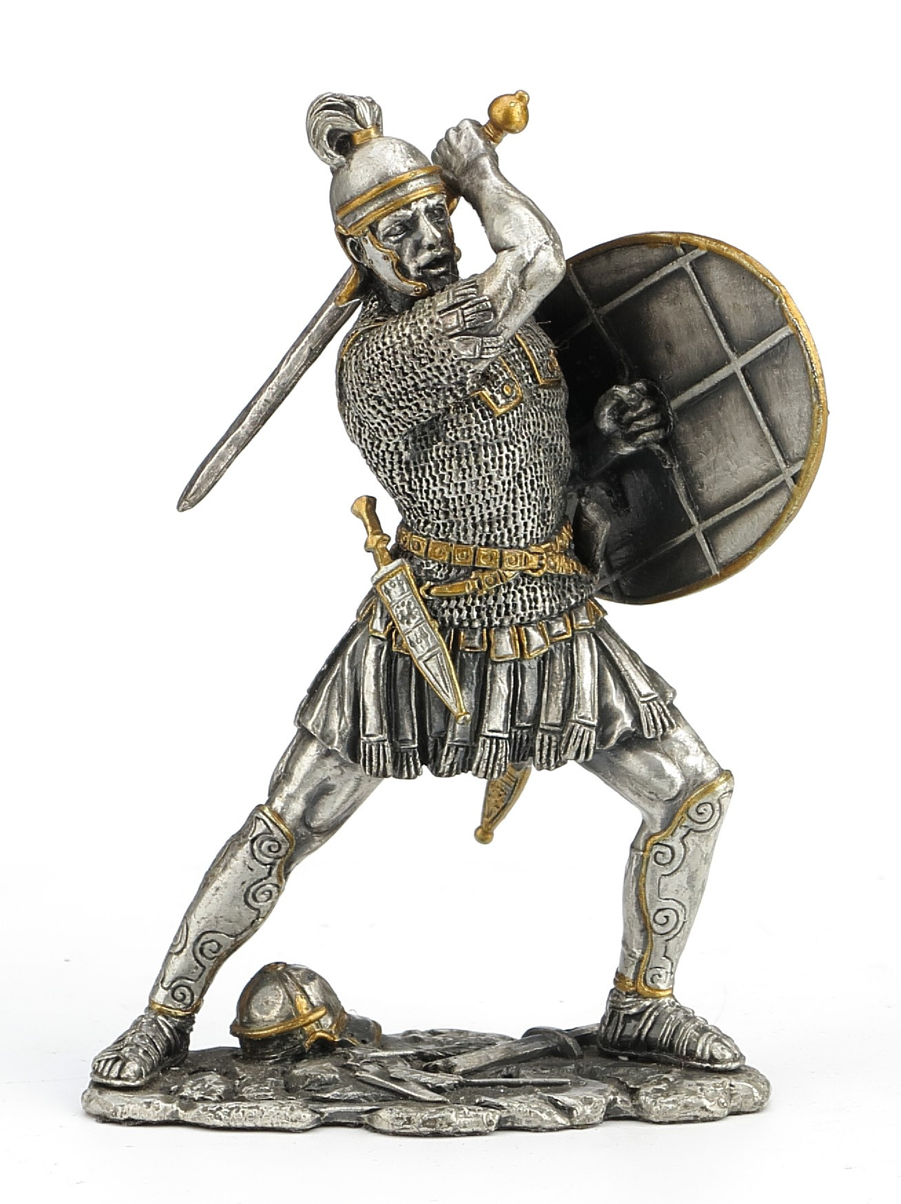 Dal Rossi Pewter MEDIEVAL WARRIOR - SHIELD IN LEFT HAND HOLDING Pewter Figurines height from 110mm to 160mm