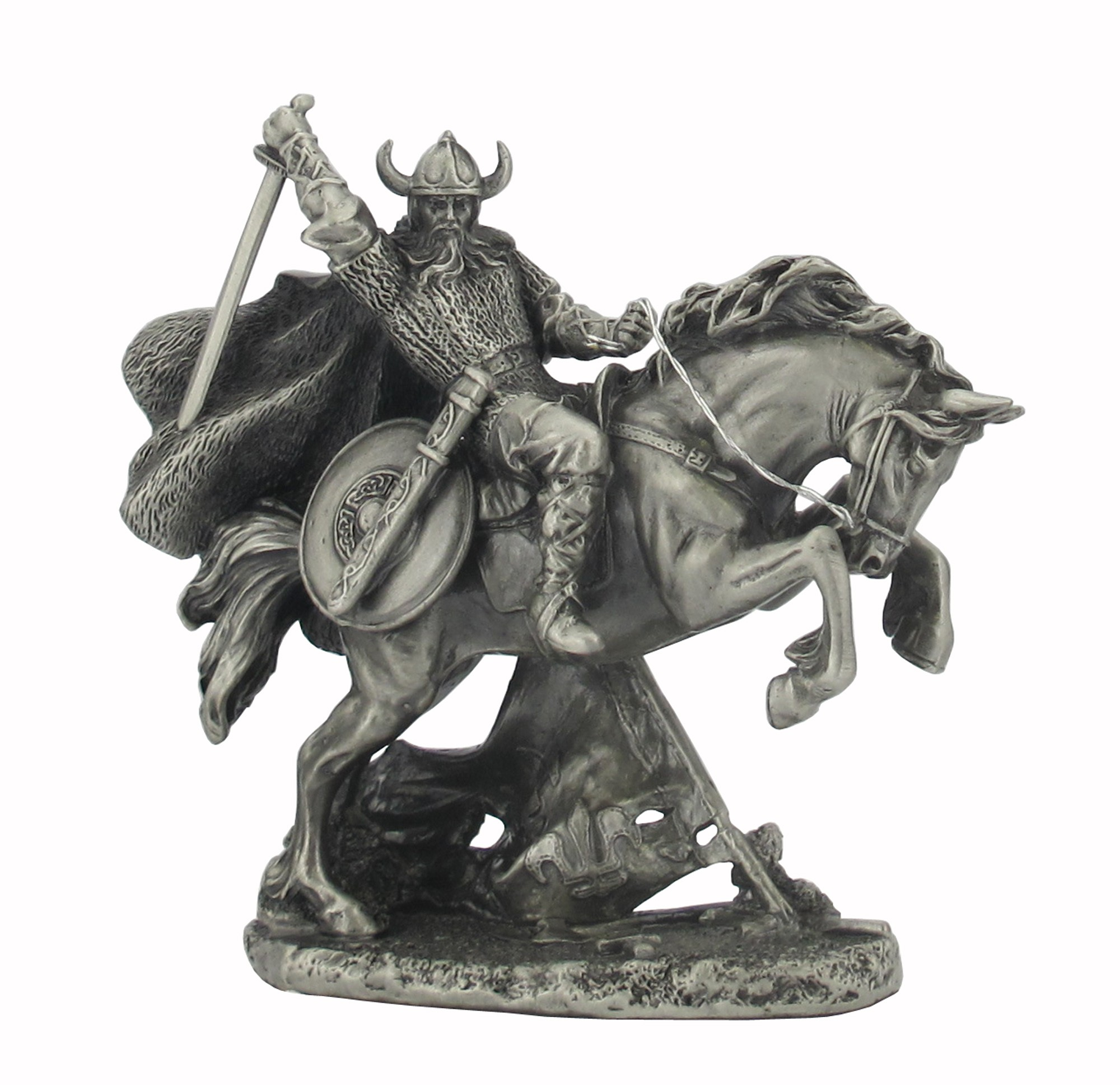 Dal Rossi Pewter Viking on rearing Horse All Pewter Figurines height from 110mm to 160mm