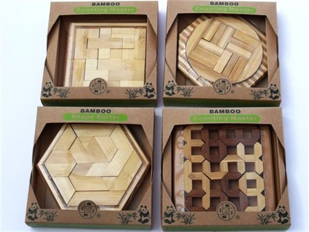 """Bamboo Puzzles """"ECO Series"""" - """"Shape Sorter"""" Display of 12 Assorted"""