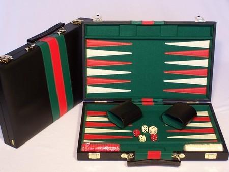 Backgammon, black vinyl case, 15