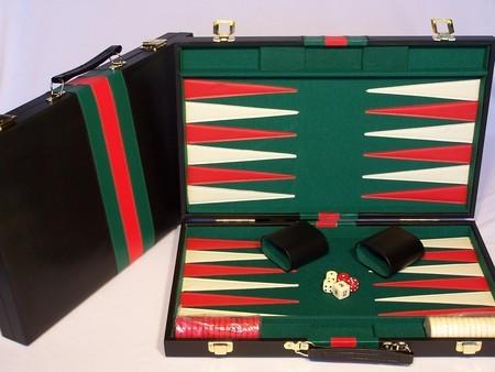 Backgammon, black vinyl case,18