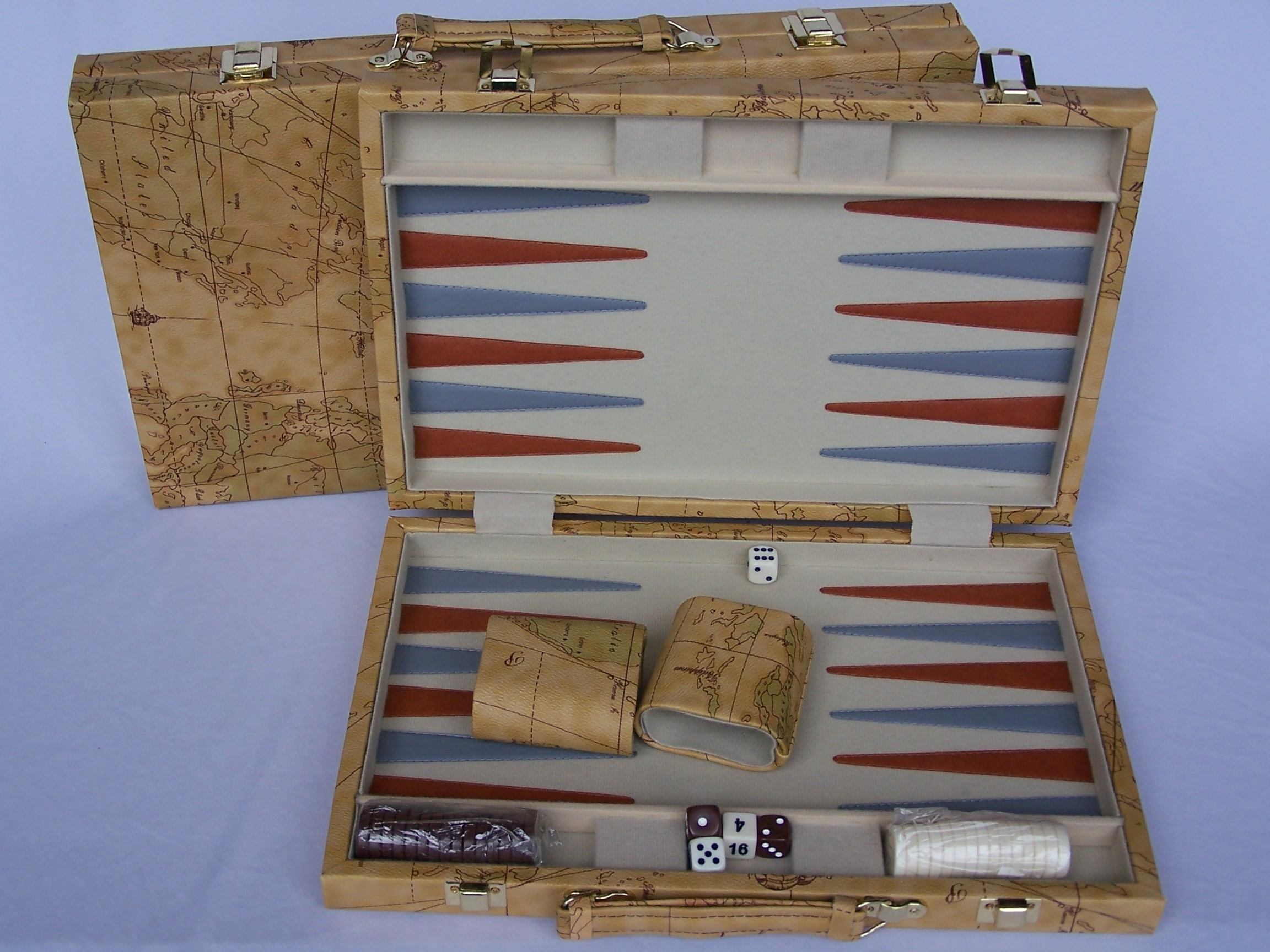 Backgammon, deluxe Brown world map, 15""