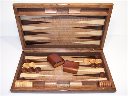"Backgammon - Dal Rossi Italy Backgammon, walnut burl 15"" NEW"