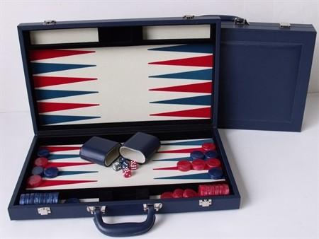 "Dal Rossi Blue Backgammon 15"" PU Leather"