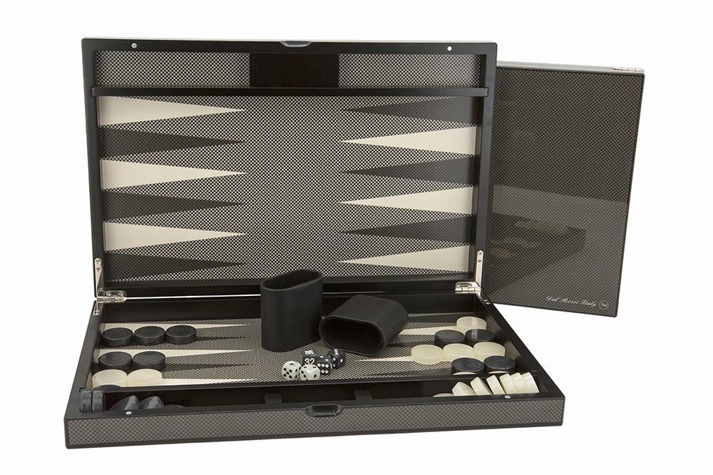 """Dal Rossi Carbon Fibre Finish Backgammon 15"""""""