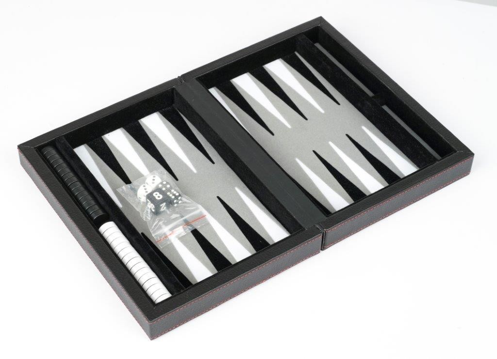 "Dal Rossi Black Backgammon 9"" PU Leather"