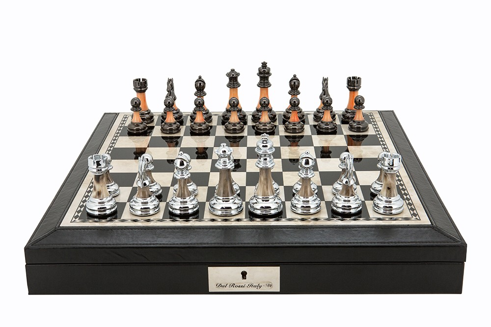 "Dal Rossi 16"" Chess Set Black Finish Chess Set with PU Leather Edge with compartments and Metal / Marble Finish Chess Pieces"