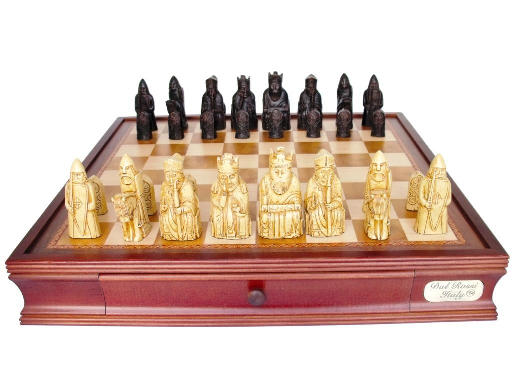 """Dal Rossi Italy Isle of Lewis Chess Set with Drawers 20"""""""