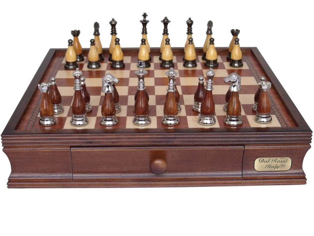 """Dal Rossi Italy Staunton Metal/Wood Chess Set with Drawers 16"""""""