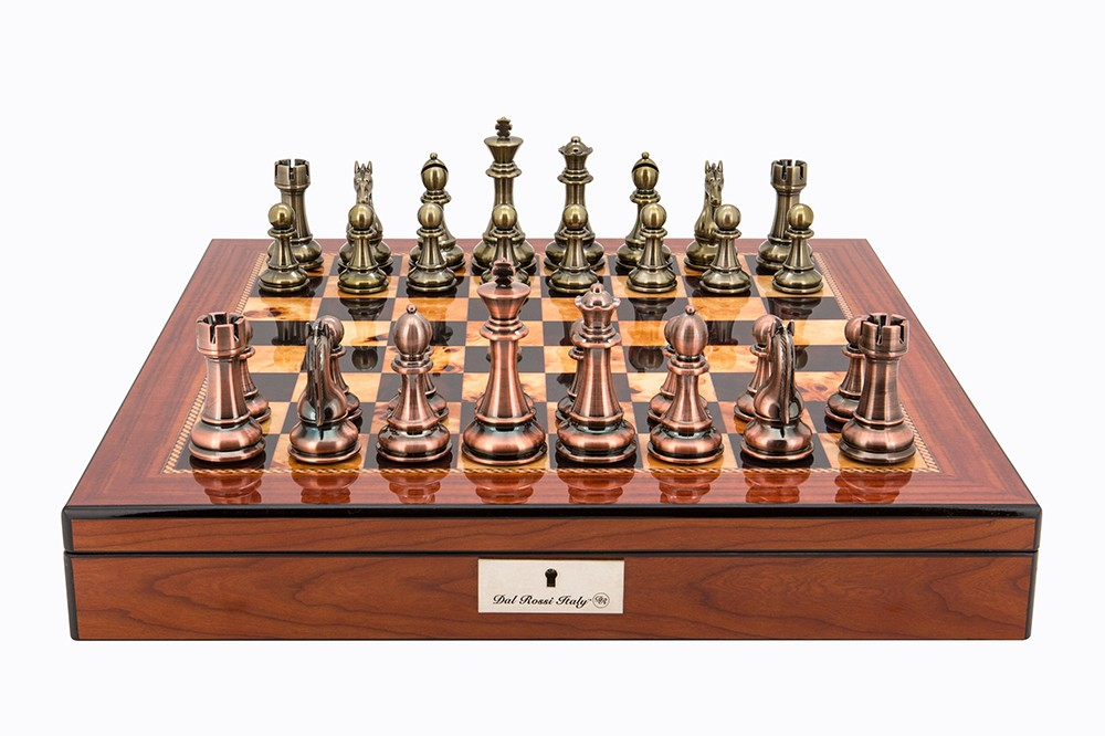 """Dal Rossi Italy Copper / Bronze Chess Set on Walnut Shiny Finish Chess Box 20"""" with compartments"""
