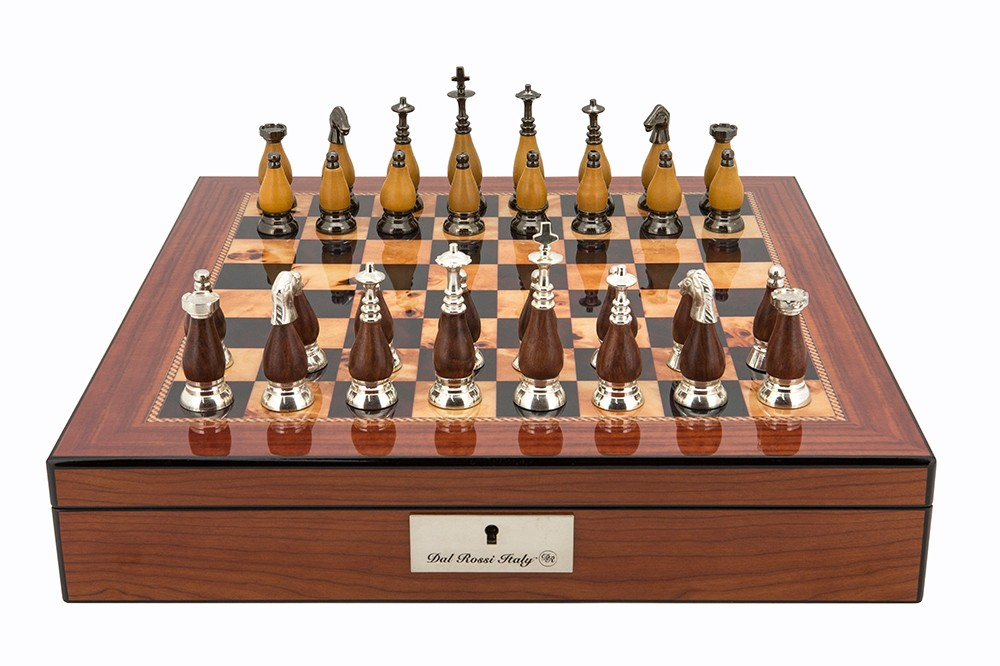 """Dal Rossi Staunton Metal Wood Chess set Walnut Finish Chess Box 16"""" with compartments"""