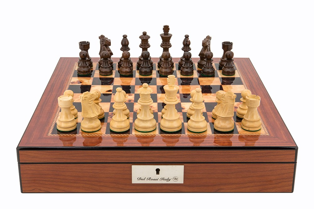 """Dal Rossi  Staunton Chess set Walnut Finish Chess Box 16"""" with compartments"""