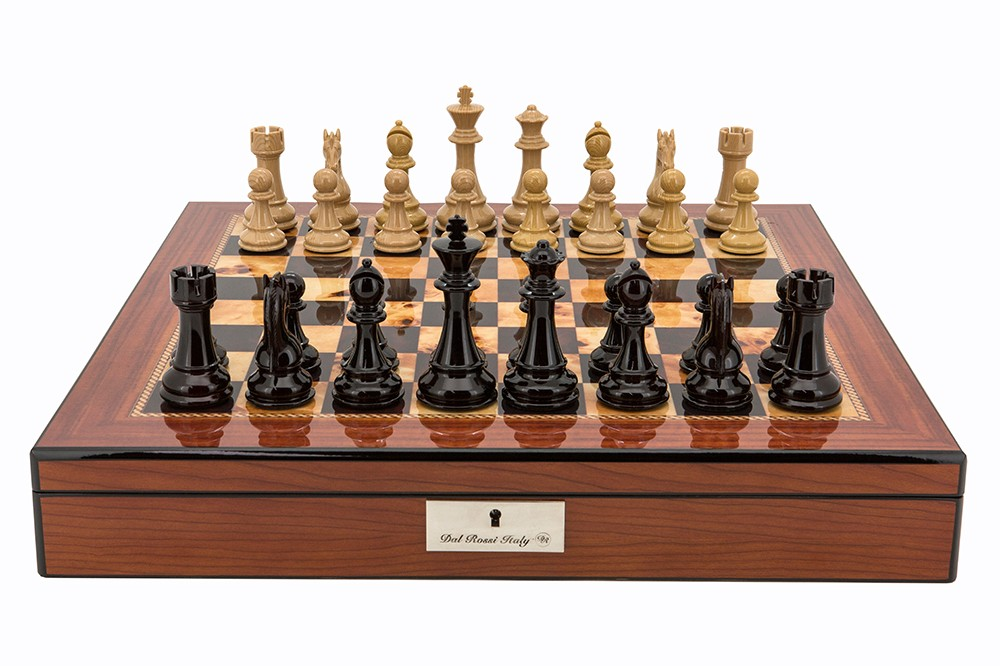 "Dal Rossi Red and Box Wood Finish Chess Set on Walnut Finish Chess Box 20"" with compartments"