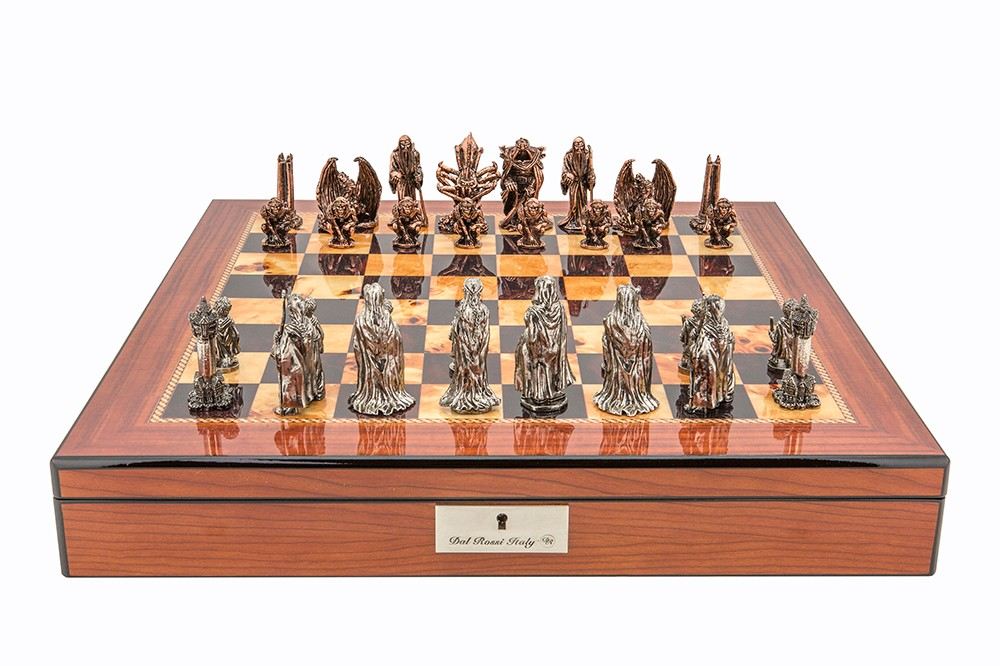 "Dal Rossi Italy Evil Ring Metal Chess Set on Walnut Shiny Finish Chess Box 20"" with compartments"