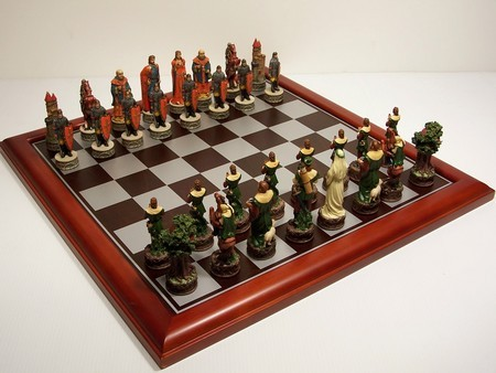 Hand Painted Theme Polyresin Chess -  Robin Hood 75mm pieces, Board Not Include