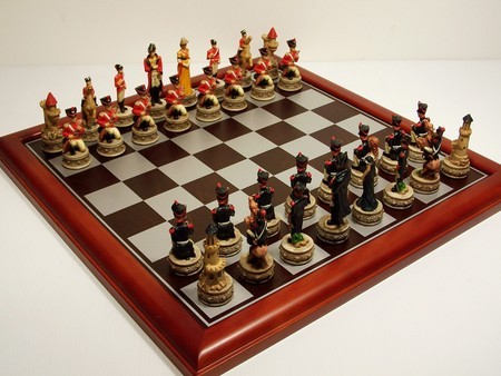 Hand Painted Theme Polyresin Chess - Battle of Waterloo Chess pieces 75mm pieces, Board Not Include
