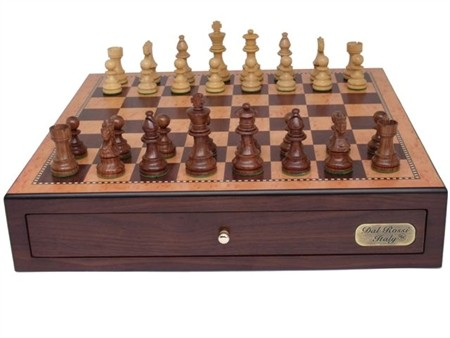 """Dal Rossi Italy, Chess Box with Drawers 18"""" (Walnut Finish) with 85mm Wooden Double Weighted Sheesham Pieces"""