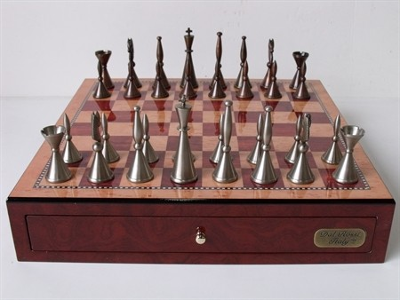 "Dal Rossi Italy, Staunton Metal Chess Set with Drawers 18"" (Red Mahogany Finish)"