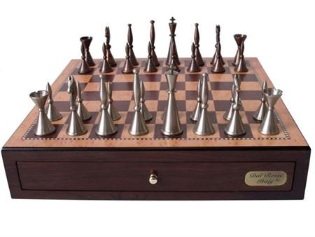 "Dal Rossi Staunton Metal Chess Set with Drawers 18"" (Walnut Finish)"