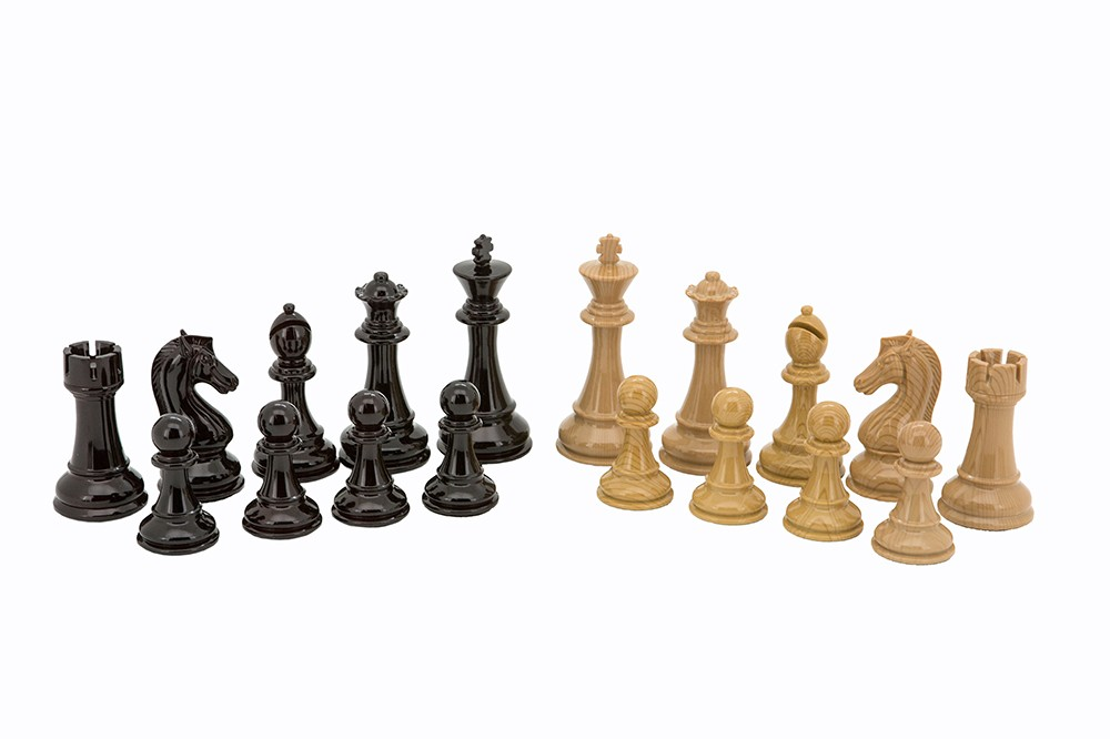 Dal Rossi Italy Black Ebony & Wood Grain Finish  and Box Wood Grain Finish Weight  pieces110mm Chess Pieces ONLY