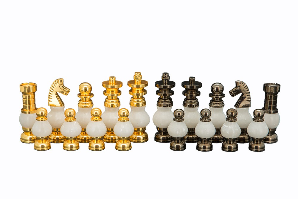 Dal Rossi Italy, White Stone and Gold Chessmen 100mm Chessmen ONLY