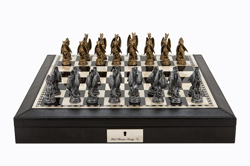 """Dal Rossi Italy Black PU Leather Bevilled Edge chess box with compartments 18"""" with Dragon Pewter Chessmen"""
