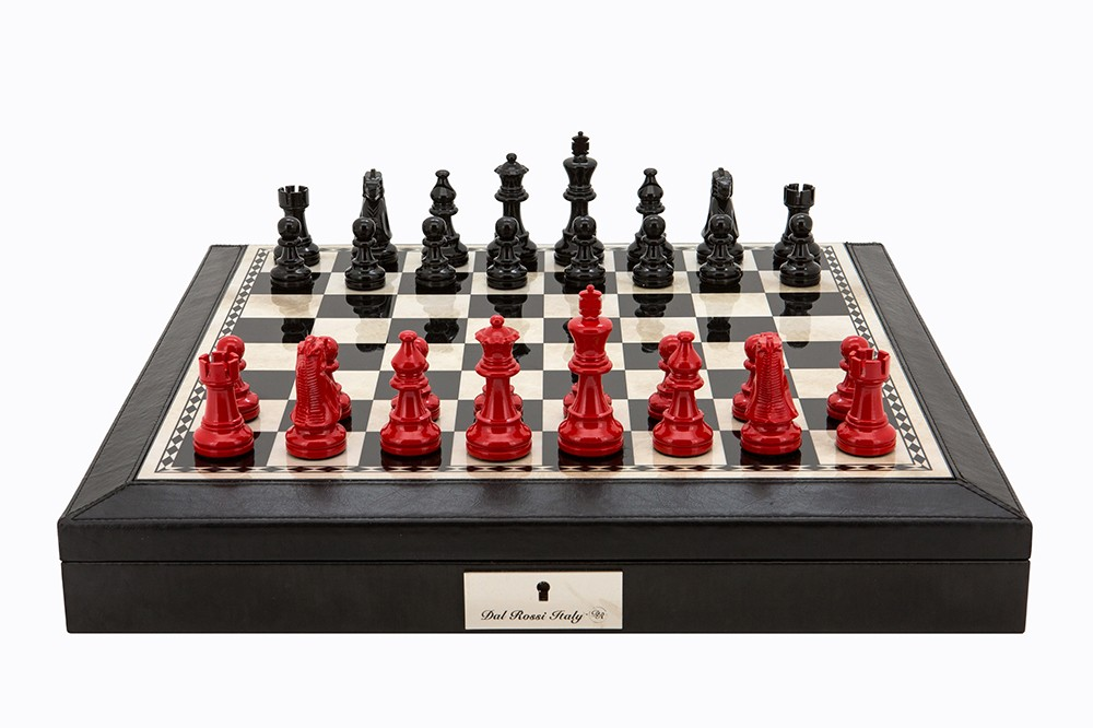 "Dal Rossi Italy Black PU Leather Bevilled Edge chess box with compartments 18"" with French Lardy Black/Red 85mm Chessmen"