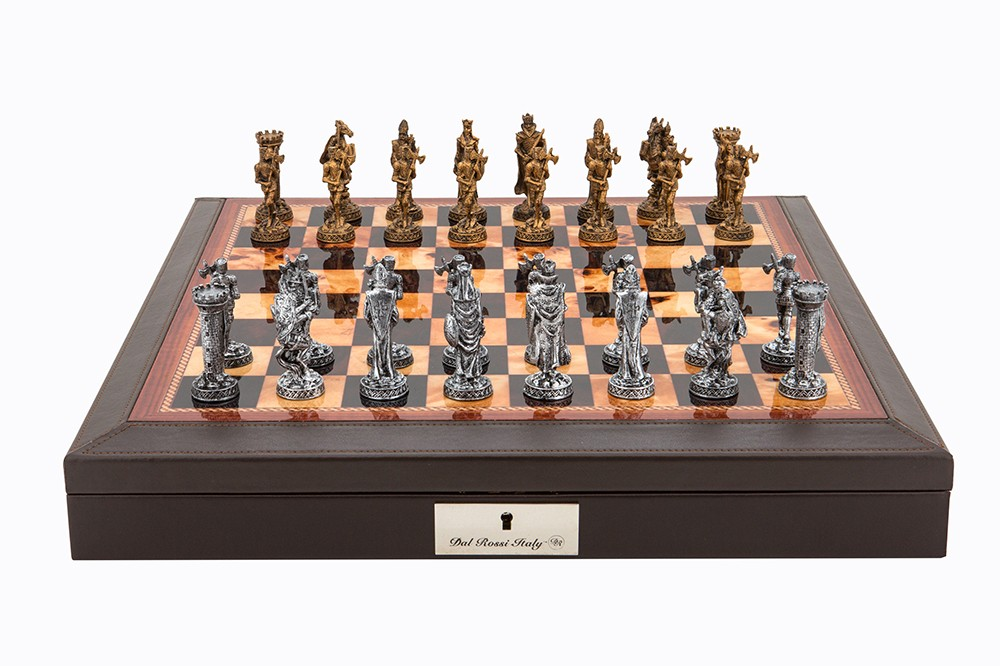 "Dal Rossi Italy Brown PU Leather Bevilled Edge chess box with compartments 18"" with Medieval Pewter GA Chessmen"