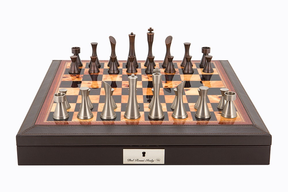 """Dal Rossi Italy Brown PU Leather Bevilled Edge chess box with compartments 18"""" with Contemporary Metal Chessmen"""