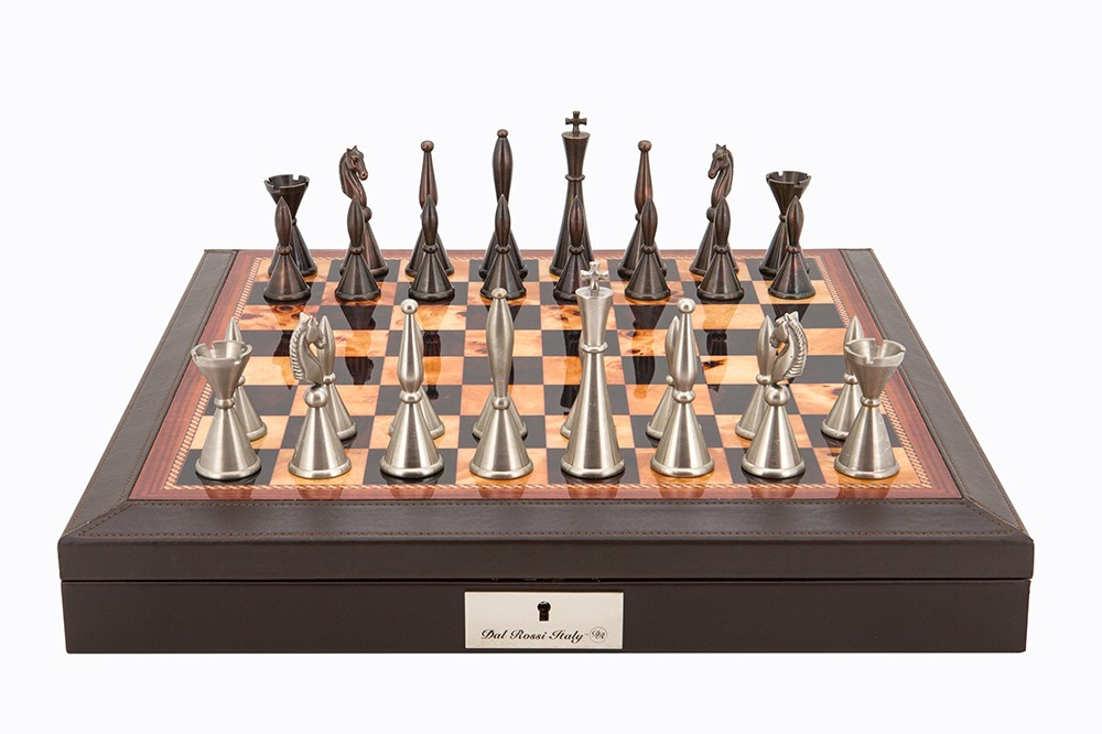 "Dal Rossi Italy Brown PU Leather Bevilled Edge chess box with compartments 18"" with Staunton Metal Chessmen"