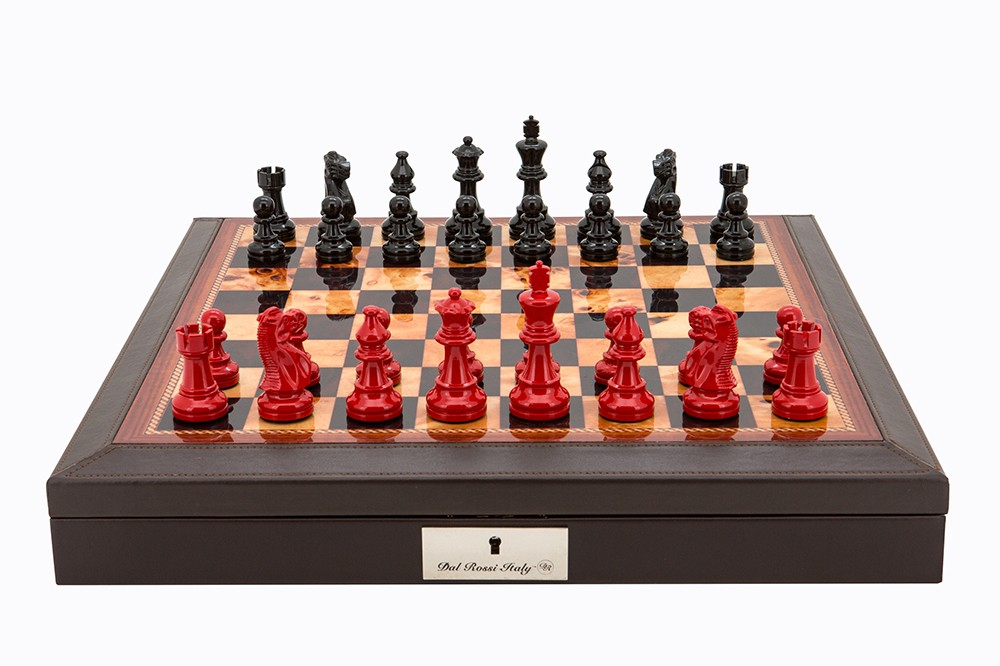 "Dal Rossi Italy Brown PU Leather Bevilled Edge chess box with compartments 18"" with French Lardy Black/Red 85mm Chessmen"