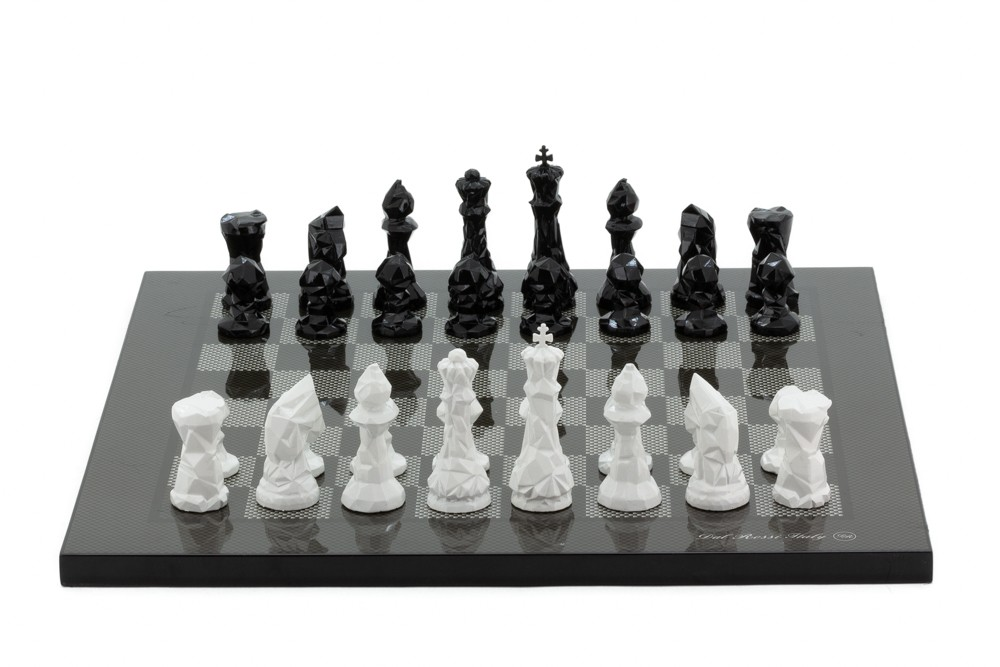 """Dal Rossi Italy Chess Set with Diamond-Cut Black & White 85mm chessmen on a Carbon Fibre Shiny Finish Chess Board16"""""""