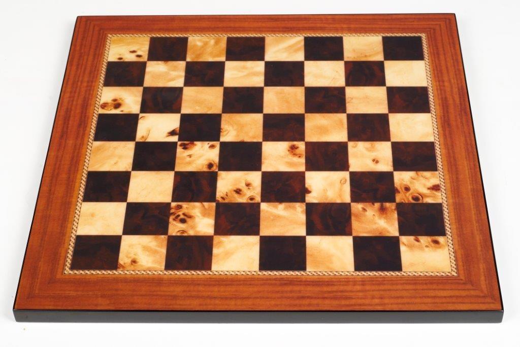 Dal Rossi Italy Walnut Shiny Finish Chess Board 50cm