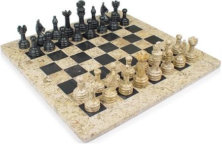"Chess set, Onyx, 12"" Fossil /Black"