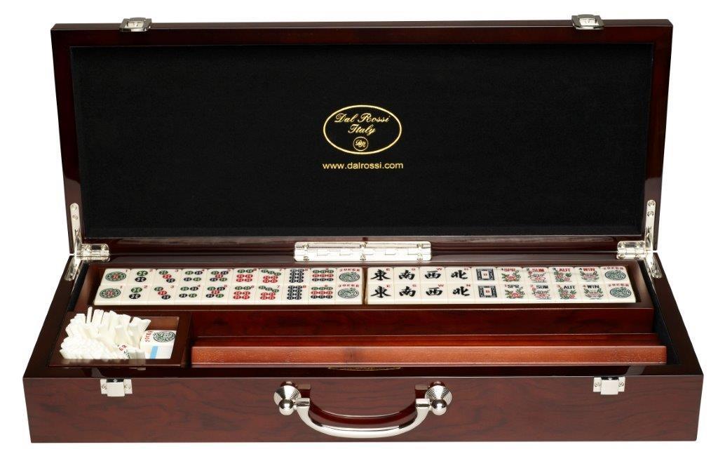 Mahjong, deluxe wooden case with sticks & racks   (52cm)