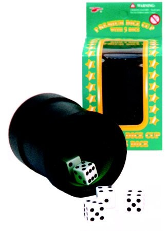 Dice - Cup with 5 dice, black PVC
