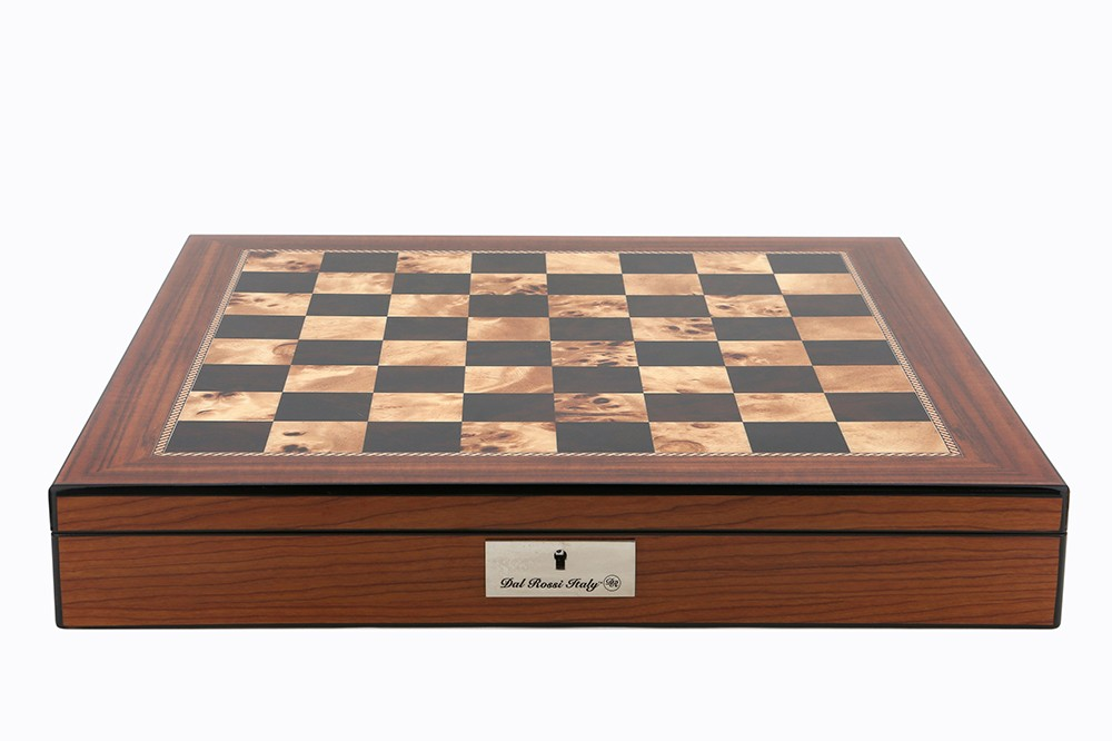 """Dal Rossi Italy Chess Box Walnut Finish Chess Box 20"""" with compartments"""