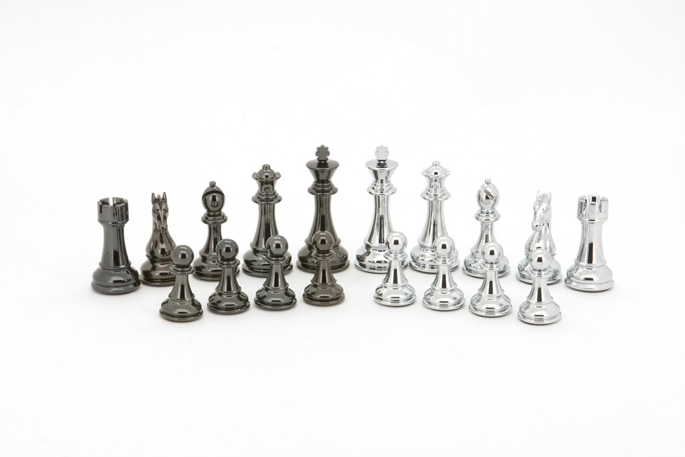 Dal Rossi Italy Silver and Black Weight  Chess pieces110mm Chess Pieces ONLY