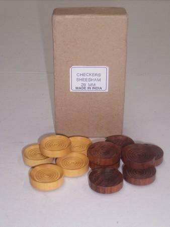Checkers/draught pieces, Sheesham, 28mm