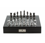 "Dal Rossi Italy Chess Set with  Diamond-Cut Titanium & Silver 85mm chessmen on a Carbon Fibre Shiny Finish Chess Box 16"" with compartments"