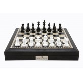 "Dal Rossi 16"" Chess Set Black and White with PU Leather Edge with compartments and Black and White 85mm Chess Pieces"