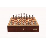 "Dal Rossi Italy, Contemporary Chess Set with drawers 18"" (Red Mahogany Finish) with Contemporary Pewter Chess Pieces"